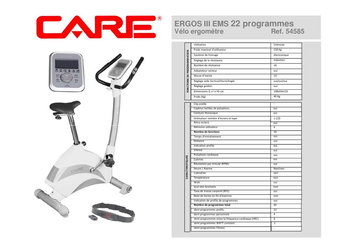 Notice D Utilisation Care Fitness Ergos Iii Care Fitness Manuel Et Mode D Emploi