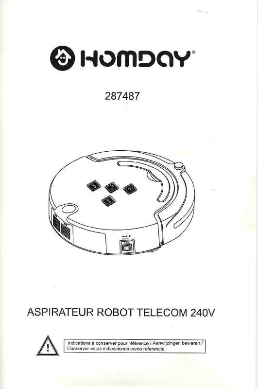 Notice HOMDAY ASPIRATEUR ROBOT TELECOM 287487 Trouver une