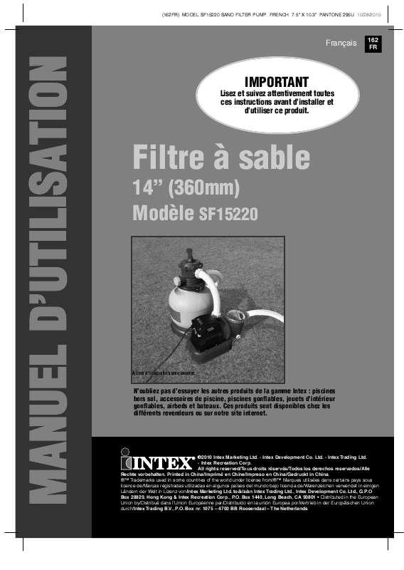 Notice D Utilisation Intex Sf15220 Intex Manuel Et Mode D Emploi