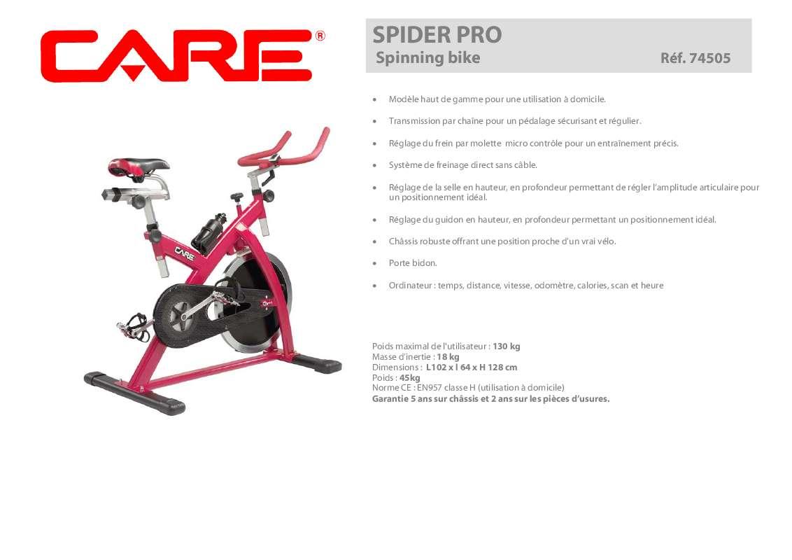 Notice D Utilisation Care Fitness Spider Pro 74505 Care Fitness Manuel Et Mode D Emploi
