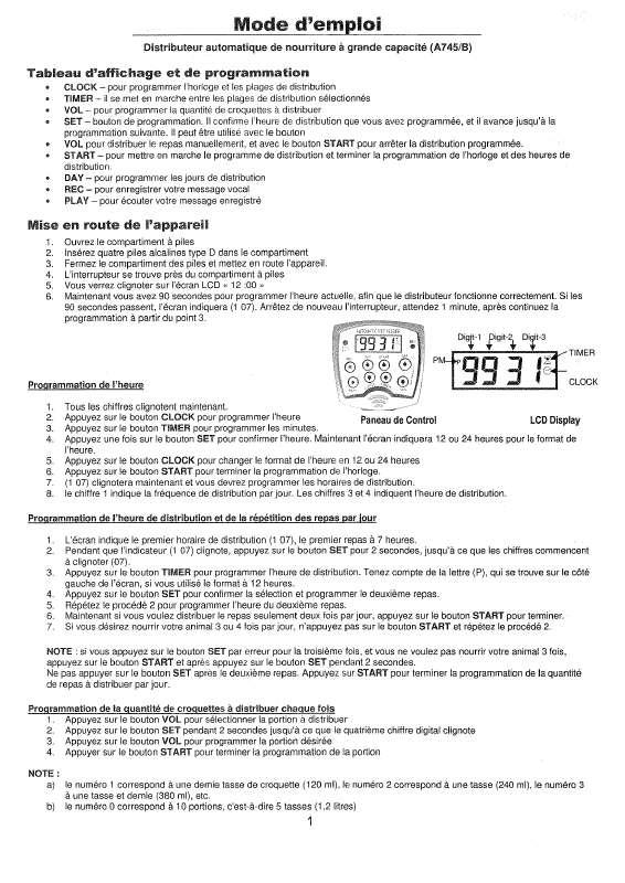 Guide utilisation  AUTOMATIC PET FEEDER A745B  de la marque AUTOMATIC PET FEEDER