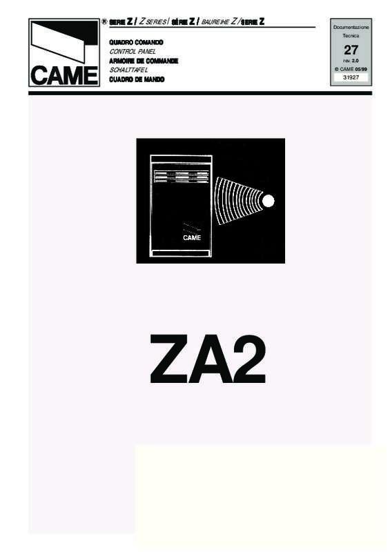 Notice D Utilisation Came Za2 Came Manuel Et Mode D Emploi