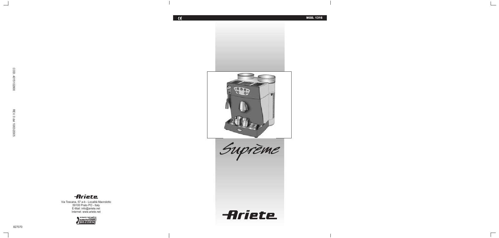Guide utilisation ARIETE SUPREME 1316 de la marque ARIETE