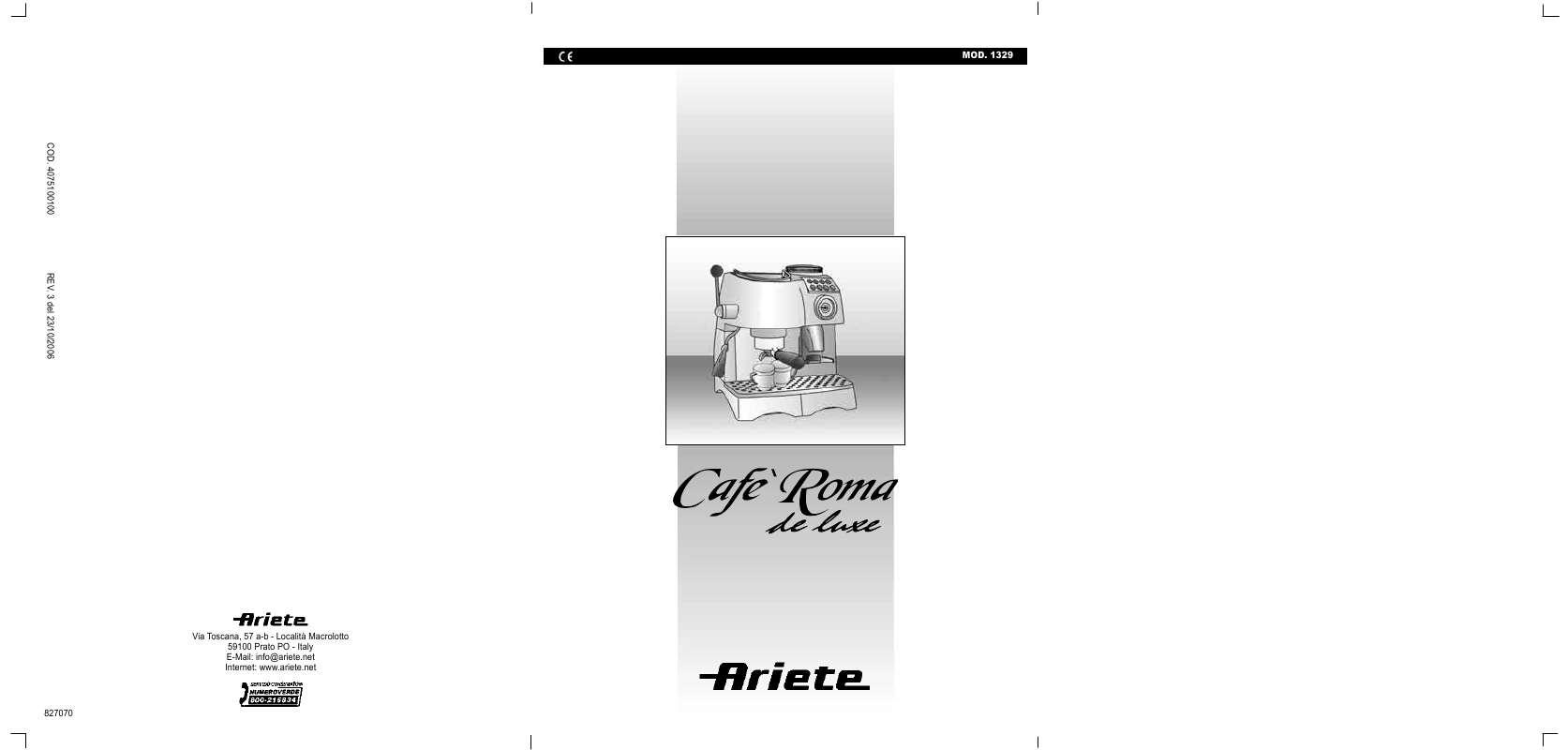 Guide utilisation ARIETE 1329 de la marque ARIETE