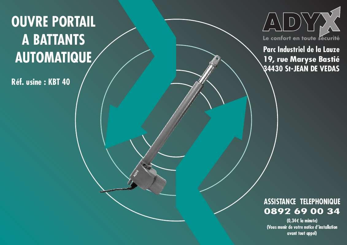 Guide utilisation  ADYX KBT40  de la marque ADYX