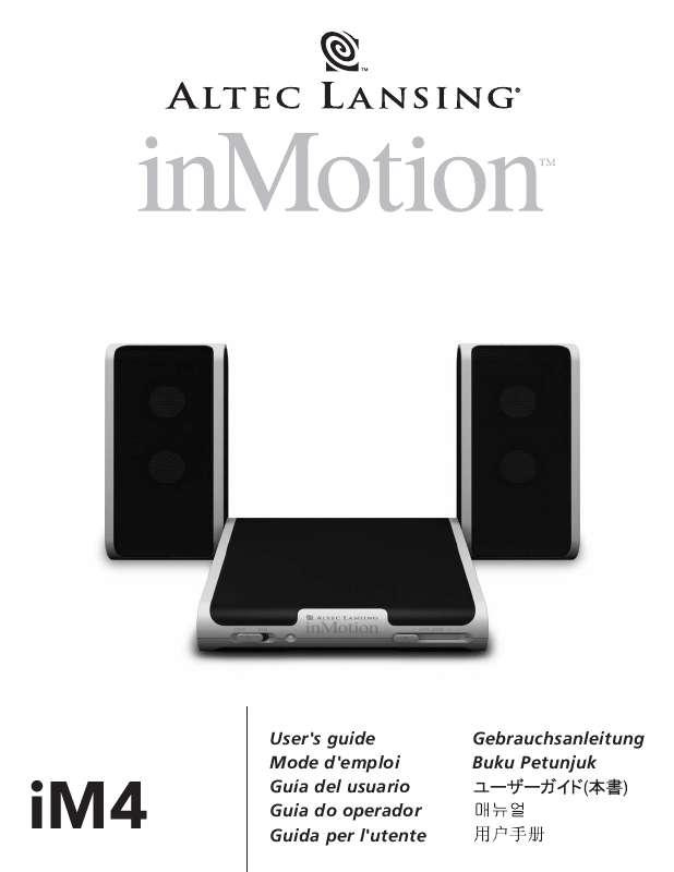 Guide utilisation  ALTEC LANSING INMOTION IM4  de la marque ALTEC LANSING