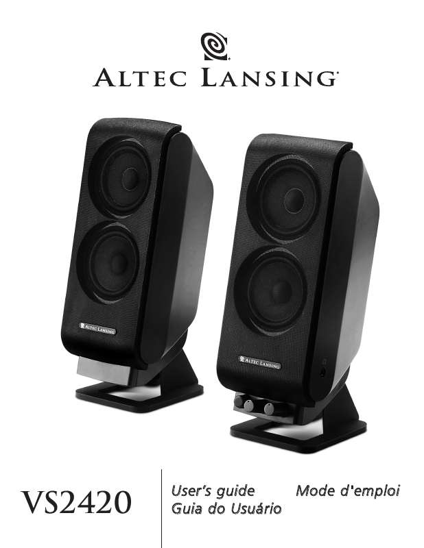 Guide utilisation  ALTEC LANSING VS2420  de la marque ALTEC LANSING