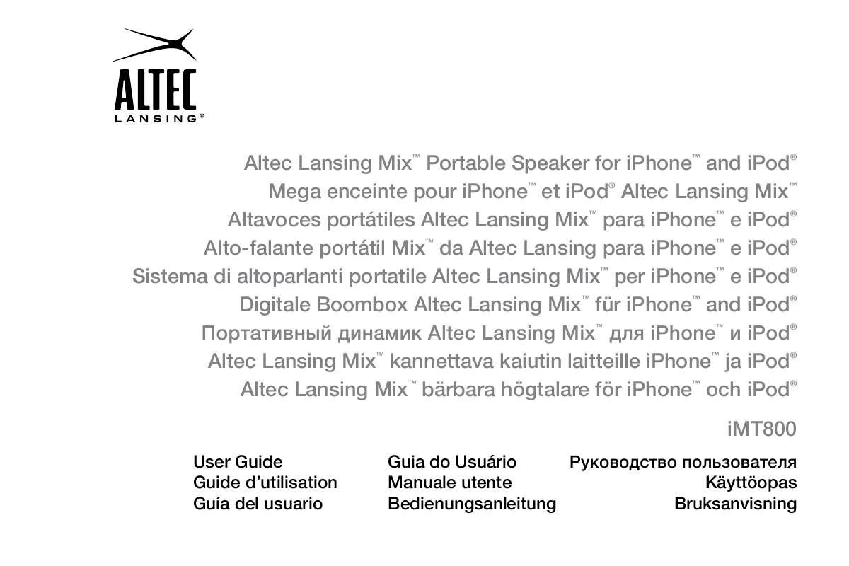 Guide utilisation ALTEC LANSING IMT800  de la marque ALTEC LANSING