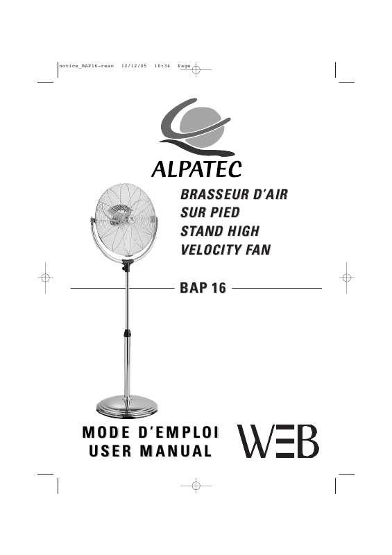 Guide utilisation ALPATEC BAP 16  de la marque ALPATEC