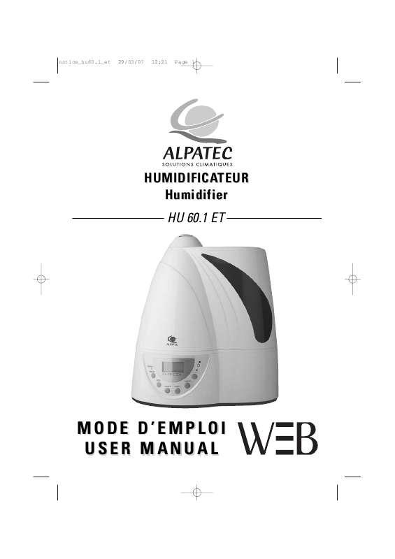 Guide utilisation ALPATEC HU 60.1 ET  de la marque ALPATEC