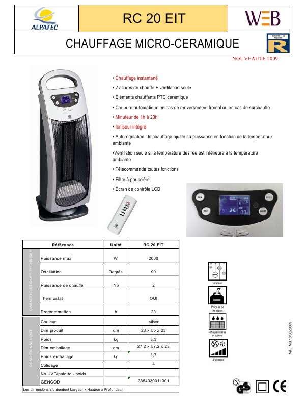 Guide utilisation ALPATEC RC 20 EIT  de la marque ALPATEC