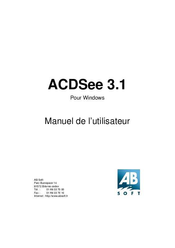 Guide utilisation  ACDSEE ACDSEE 3.1  de la marque ACDSEE