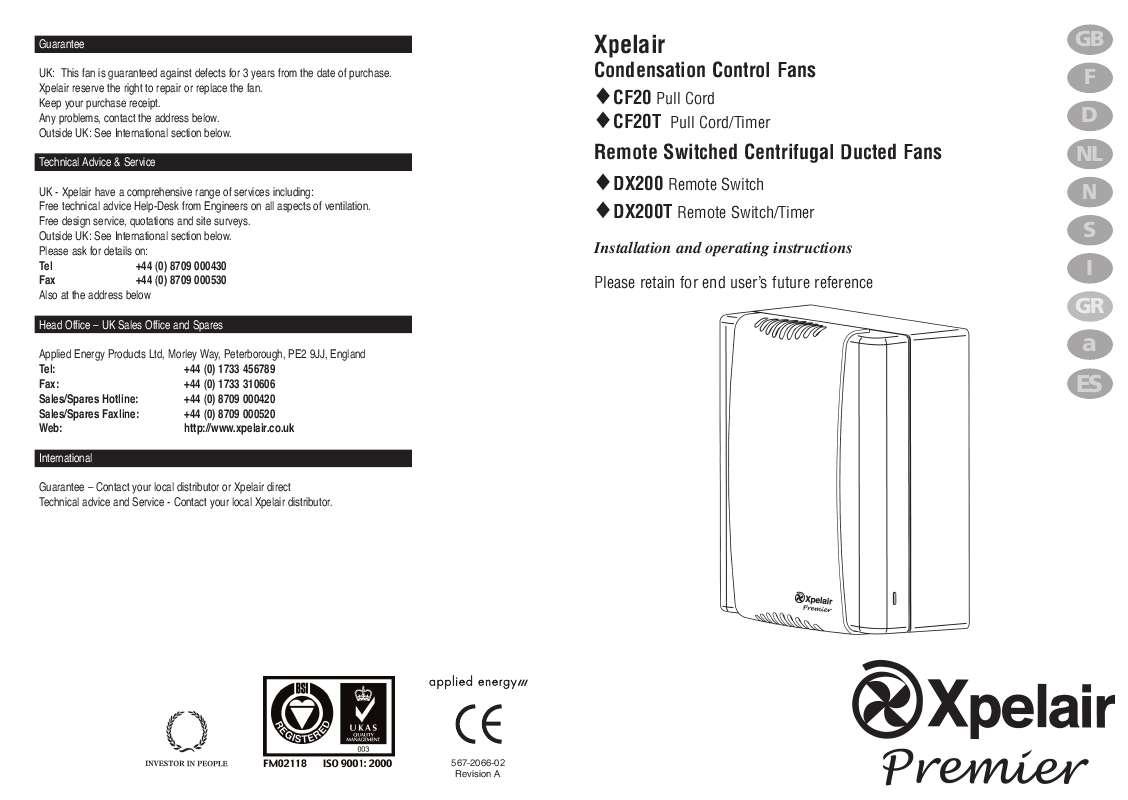 Guide utilisation  APPLIED ENERGY CF 20T  de la marque APPLIED ENERGY