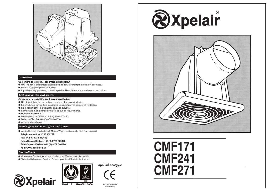 Guide utilisation  APPLIED ENERGY CMF 271  de la marque APPLIED ENERGY