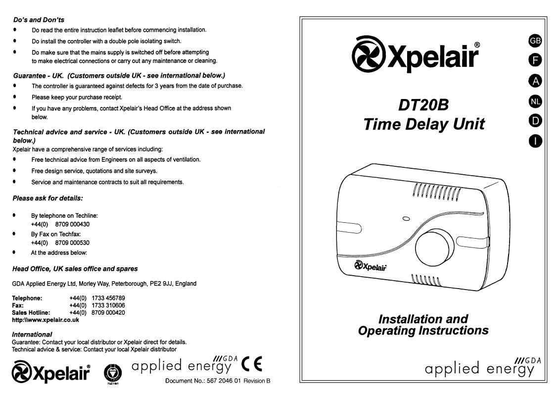 Guide utilisation  APPLIED ENERGY DT20B  de la marque APPLIED ENERGY