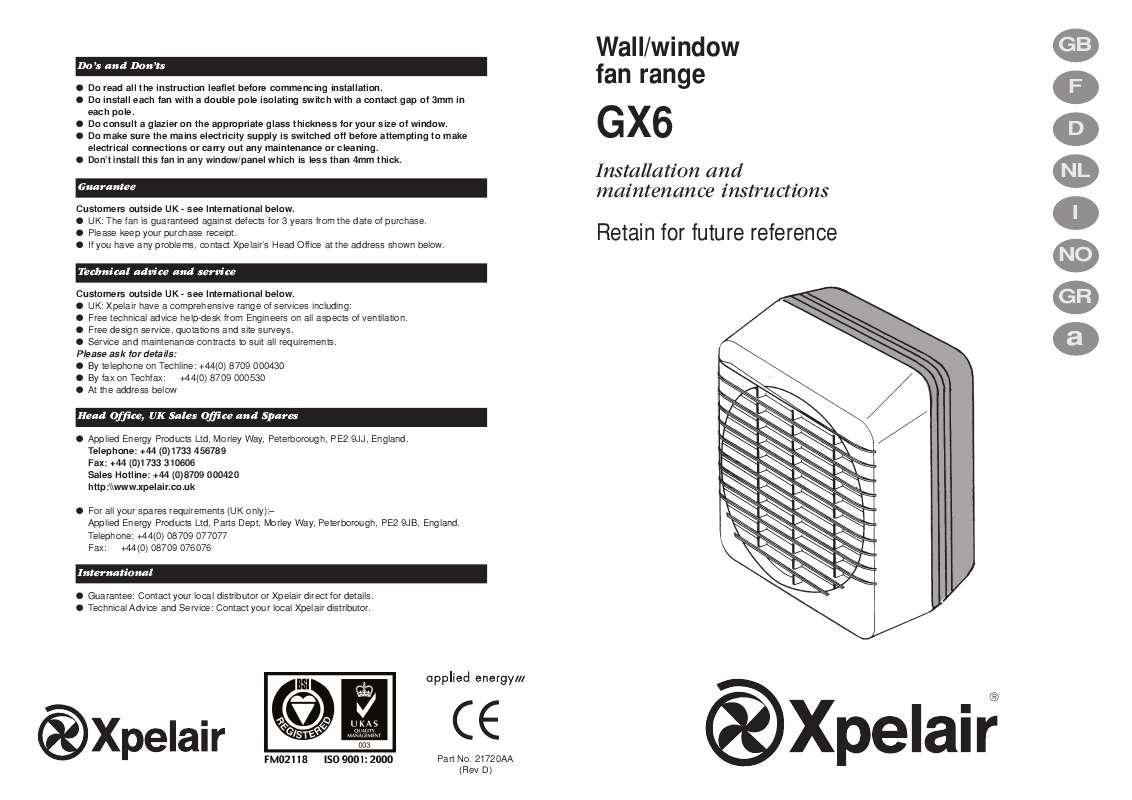Guide utilisation  APPLIED ENERGY GX6  de la marque APPLIED ENERGY