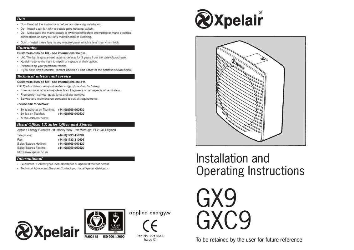 Guide utilisation  APPLIED ENERGY GXC9  de la marque APPLIED ENERGY