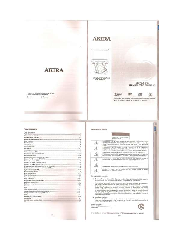 Guide utilisation AKIRA DPS-S62UT10  de la marque AKIRA