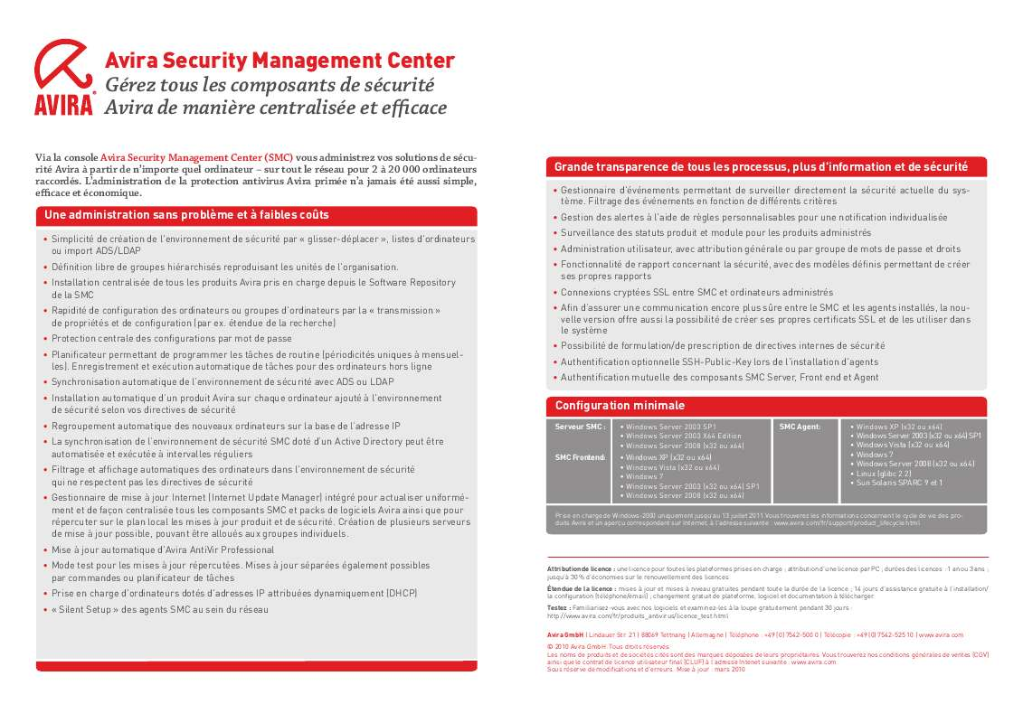 Guide utilisation  AVIRA SECURITY MANAGEMENT CENTER  de la marque AVIRA