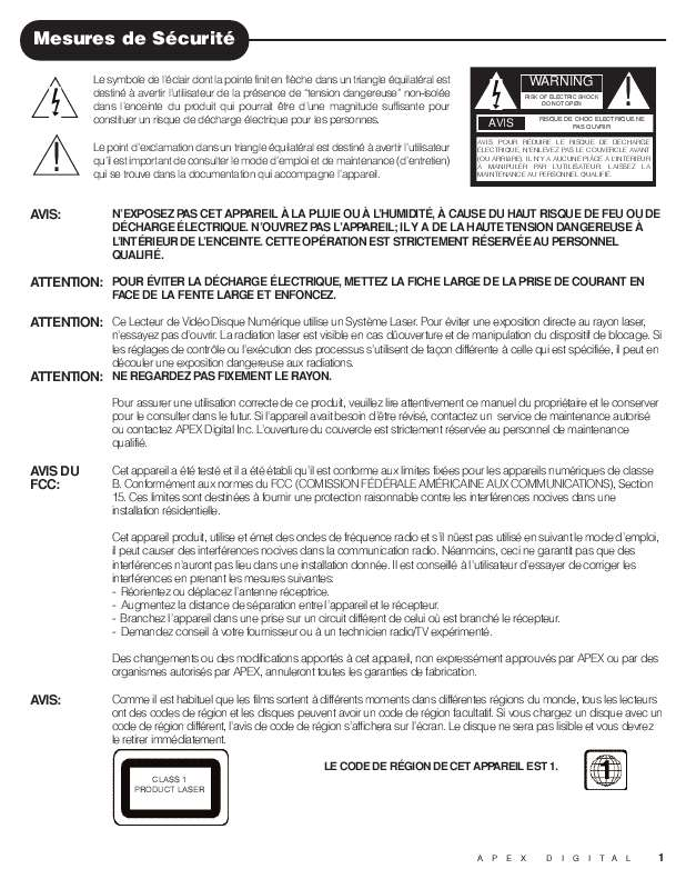 Guide utilisation  APEX DIGITAL FAD-1500  de la marque APEX DIGITAL