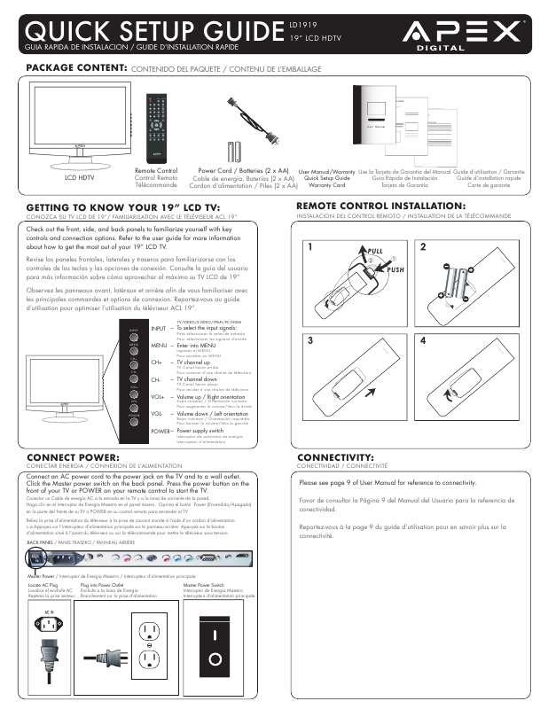 Guide utilisation  APEX DIGITAL LD1919  de la marque APEX DIGITAL