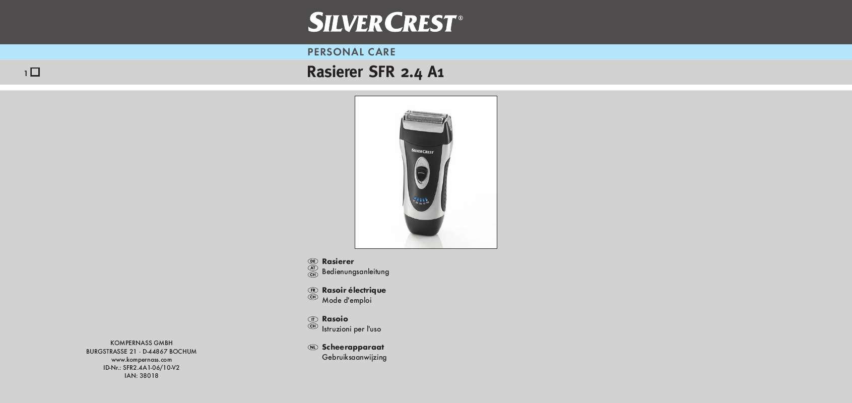 Guide utilisation  SILVERCREST SFR 2.4 A1  de la marque SILVERCREST