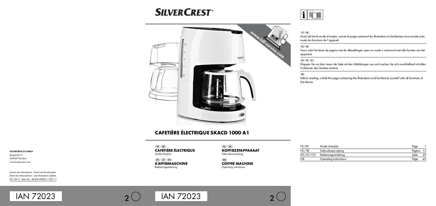 Guide utilisation  SILVERCREST SKACD 1000 A1  de la marque SILVERCREST