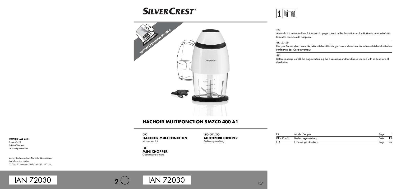 Guide utilisation  SILVERCREST SMZCD 400 A1  de la marque SILVERCREST