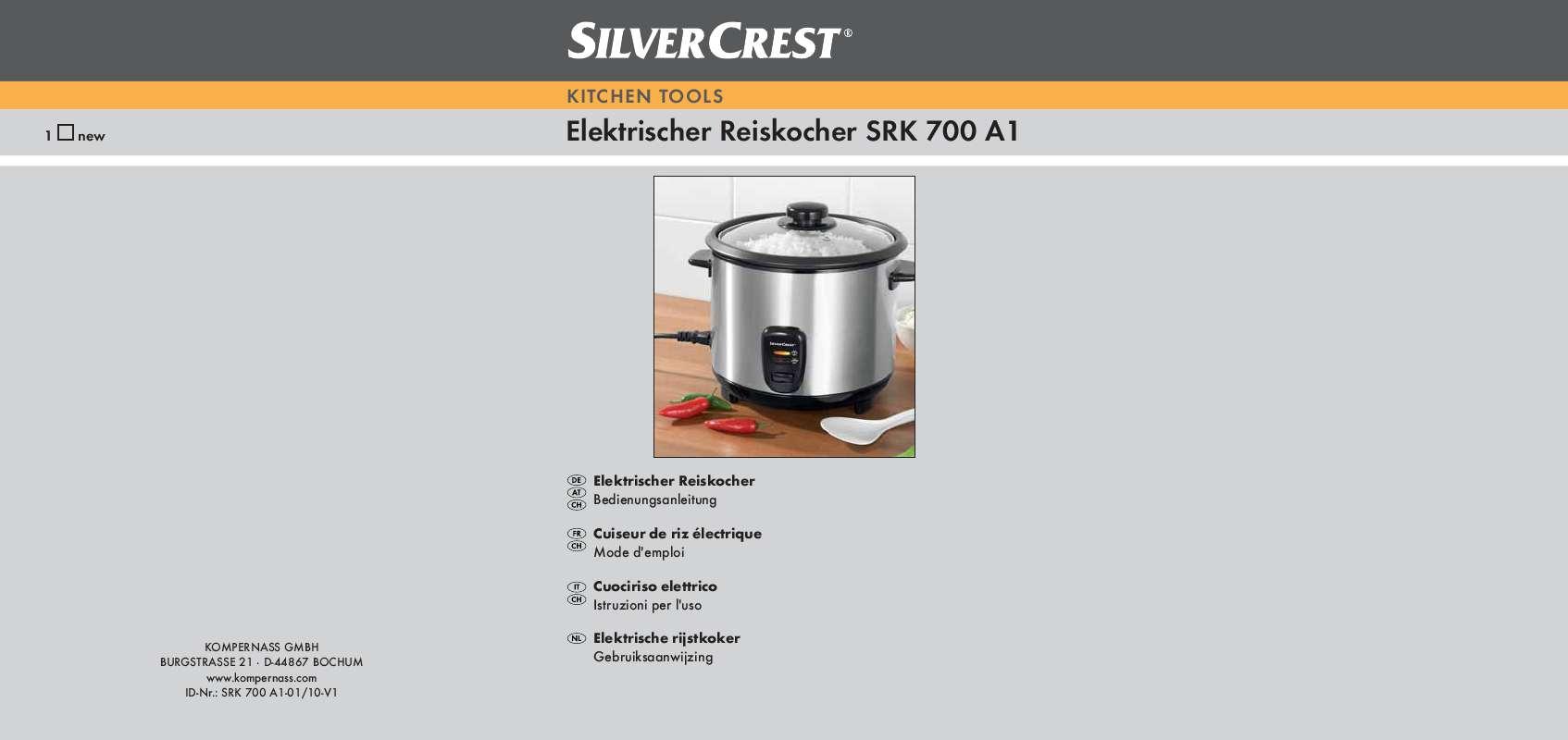 Guide utilisation  SILVERCREST SRK 700 A1  de la marque SILVERCREST