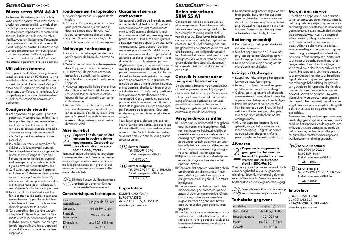 Guide utilisation  SILVERCREST SRM 55 A1  de la marque SILVERCREST