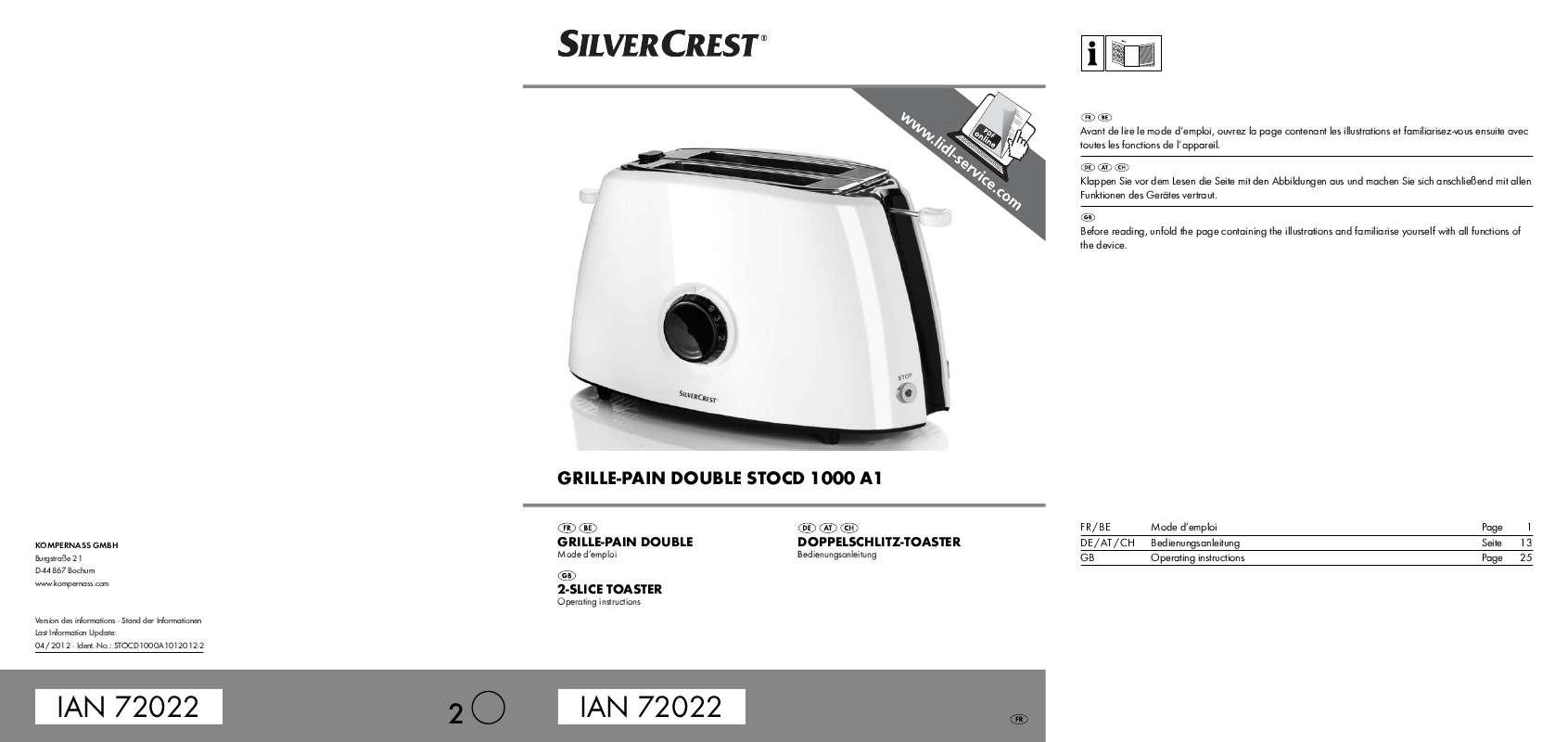 Guide utilisation  SILVERCREST STOCD 1000 A1  de la marque SILVERCREST