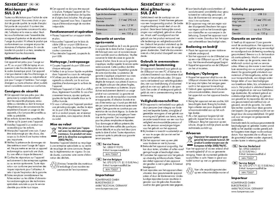 Guide utilisation  SILVERCREST SUL 3 A1  de la marque SILVERCREST