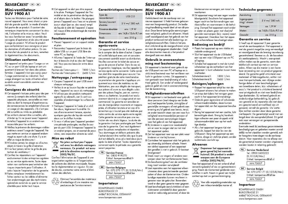 Guide utilisation  SILVERCREST SUV 1900 A1  de la marque SILVERCREST