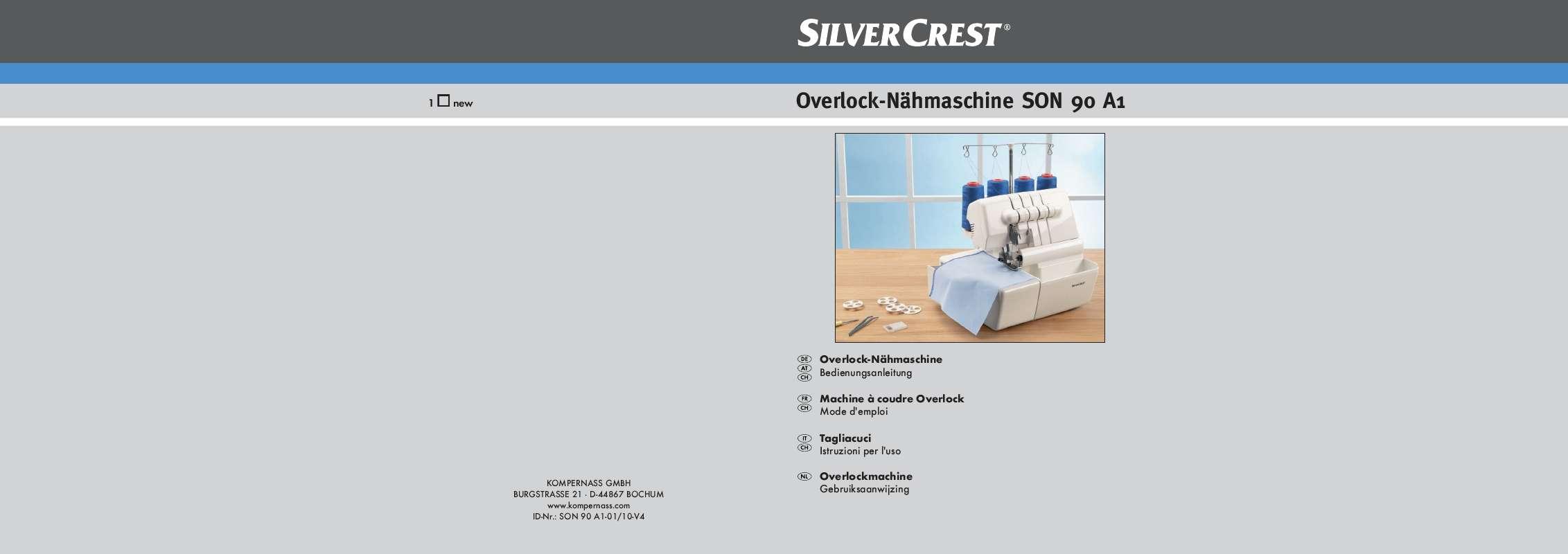 Guide utilisation SILVERCREST SON 90 A1 OVERLOCK SEWING MACHINE  de la marque SILVERCREST